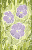 Mosaic violet flowers on green background  Royalty Free Stock Photo