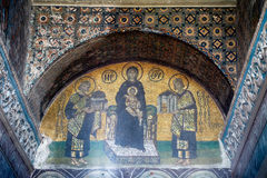 The mosaic: Virgin with Child flanked by Justinian I and Constan Royalty Free Stock Images