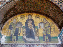 The mosaic: Virgin with Child flanked by Justinian I and Constan Royalty Free Stock Image