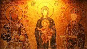 Mosaic of Virgin Mary and Infa Royalty Free Stock Photography