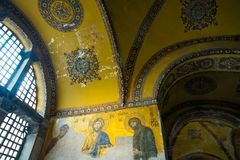 Mosaic of Virgin Mary and Jesus Christ and other Saints in the Hagia Sofia church, Istanbul, Turkey royalty free stock photography