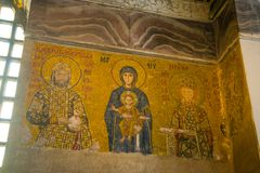 Mosaic of Virgin Mary and Jesus Christ and other Saints in the Hagia Sofia church, Istanbul, Turkey stock photo