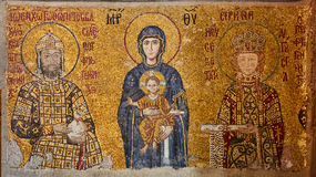 Mosaic of Virgin Mary and Jesus Christ and other Saints in the Hagia Sofia church, Istanbul, Turkey. Royalty Free Stock Photos