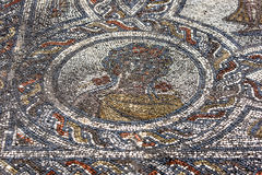 A mosaic at Volubilis in Morocco showing Spring, medallion from the mosaic of the Four Seasons. Stock Photo