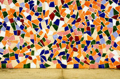 Mosaic wall. A wall made with an abstract pattern made with mosaic bits Stock Photos