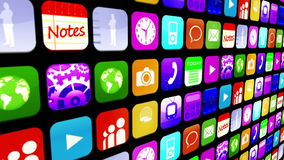 Mosaic wall of application icons stock footage