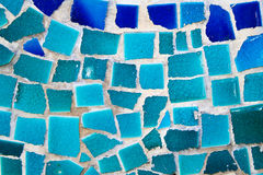 Mosaic wall from broken ceramic tiles Royalty Free Stock Images