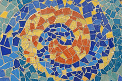 Mosaic wall from ceramic broken tile royalty free stock photos