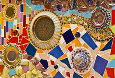 Mosaic wall decorative ornament from ceramic broken tile Royalty Free Stock Photography