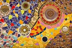 Mosaic wall decorative ornament from ceramic broken tile Stock Images