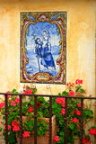 Mosaic on wall of Mission Carmel stock photography