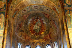 Mosaic wall painting of the Church of the Savior on Blood. Royalty Free Stock Photos