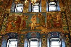 Mosaic wall painting of the Church of the Savior on Blood. Stock Images