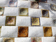 The mosaic wall in the Park Guell Royalty Free Stock Photos