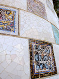 The mosaic wall in the Park Guell Royalty Free Stock Images