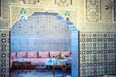 Mosaic walls. Moroccan house with mosaic and carved walls Royalty Free Stock Photos
