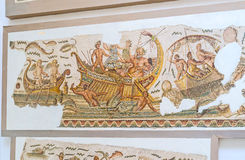 The mosaic warships. TUNIS, TUNISIA - SEPTEMBER 2, 2015: The mosaic warship with Dionysus and Thyrrhenian pirates, sailing in sea, Bardo National Museum, on Stock Image