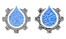 Mosaic Water Gear Service Icons of Service Tools stock illustration