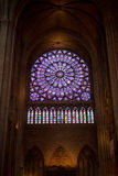 Mosaic window of cathedral of Notre Dame stock images