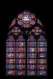 Mosaic window of cathedral of Notre Dame. Mosaic window (blue) of cathedral of Notre Dame stock photography