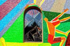 Mosaic window with Station of the Cross in Medugorje Royalty Free Stock Photos
