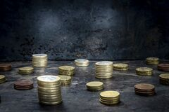 Mosaic With Pattern Made Up Of Euro Coins On A Dark Black Background With Ripped Metal Details Stock Image