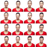 Mosaic of woman with freckles expressing different emotions expressions. The woman with red t-shirt with 16 different emotions. is