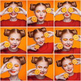 Mosaic of woman with orange and makeup and hairstyle expressing different emotions. Royalty Free Stock Photography