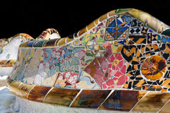 Mosaic work by Gaudi at Park Gell, Barcelona Royalty Free Stock Photo