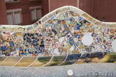 Mosaic work by Gaudi at Park Guell Royalty Free Stock Image