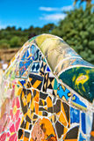 Mosaic work on the main terrace at Parc Guell Stock Photos