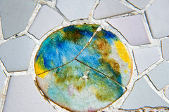 Mosaic work on the main terrace at Parc Guell Stock Photography