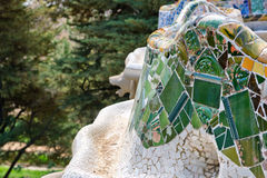 Mosaic work on the main terrace at Parc Guell Stock Images