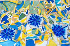 Mosaic work on the main terrace at Parc Guell Royalty Free Stock Photos