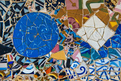 Mosaic work on the main terrace at Parc Guell Royalty Free Stock Photo