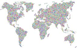 Mosaic world map Royalty Free Stock Images