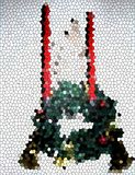 Mosaic of wreath and candles. Mosaic of a green floral wreath with a pair of red candles Royalty Free Stock Photography