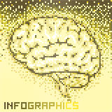 Mosaici di colore di Brain Shape Abstract Background With Immagine Stock