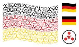 Mosaico alemão de ondulação da bandeira do agente de nervo Chemical Warfare Items de WMD ilustração do vetor