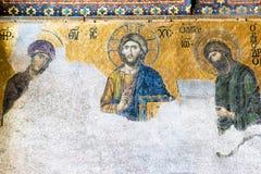 Mosaico antiguo dentro del Hagia Sophia en Estambul, Turquía Foto de archivo libre de regalías