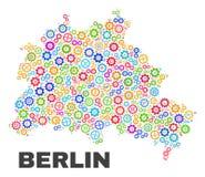 Mosaico Berlin City Map de los elementos de engranaje stock de ilustración