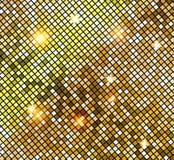 Mosaico brilhante dourado no estilo da bola do disco O disco do ouro do vetor ilumina o fundo abstraia o fundo ilustração stock