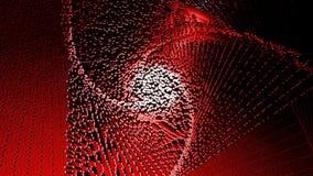 mosaico cúbico dos pixéis com efeito do pulso aleatório, o logotipo tecnologico abstrato do fundo em um fundo vermelho 3d rendem ilustração do vetor
