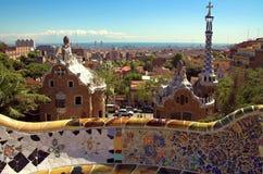 Mosaico cerâmico no guell do parque Imagens de Stock Royalty Free