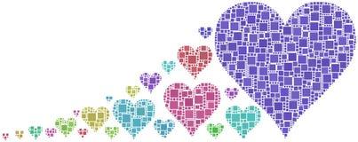 Mosaico colorido dos corações Foto de Stock