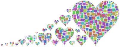 Mosaico colorido dos corações Imagem de Stock