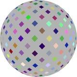 Mosaico colorido no gráfico cinzento do globo 3d Fundo branco isolado ilustração do vetor