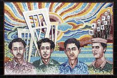 Mosaico commemorativo per i martiri di Ekushey sul campus universitario fotografia stock libera da diritti
