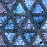 Mosaico continuo de los triángulos azules de la pendiente foto de archivo