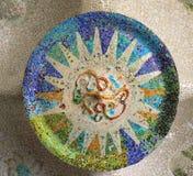 Mosaico dal A. Gaudi in sosta Guell a Barcellona Fotografie Stock Libere da Diritti